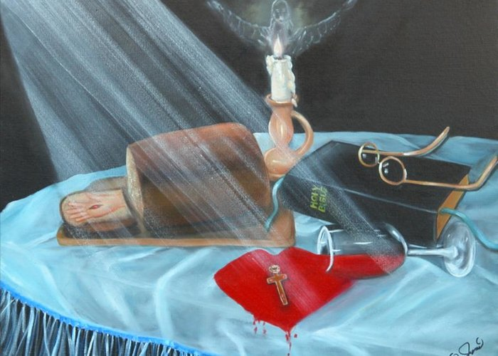 Oil Paintings Greeting Card featuring the painting Communion by Joni McPherson