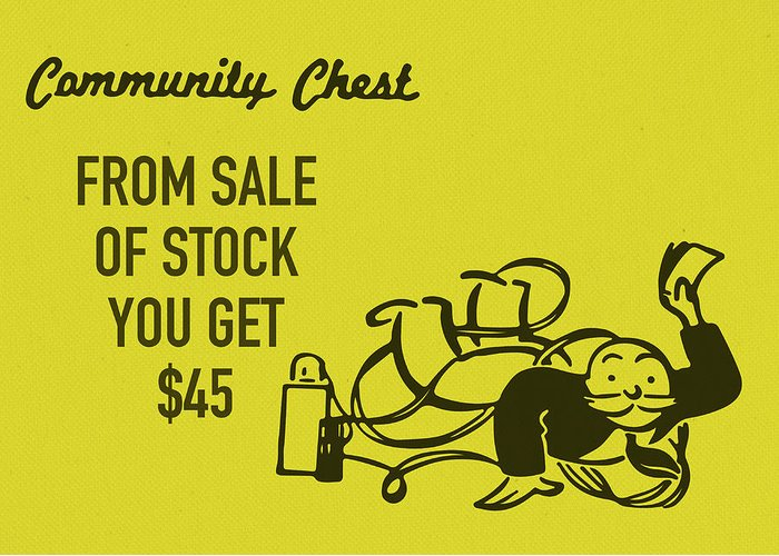 Community chest vintage monopoly board game from sale of stock you community chest greeting card featuring the mixed media community chest vintage monopoly board game from sale m4hsunfo