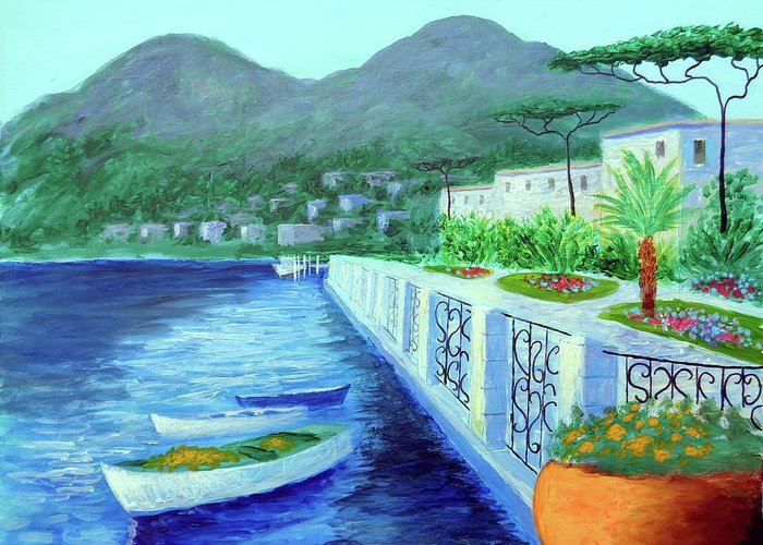 Como A Vision Of Delight Greeting Card featuring the painting Como A Vision Of Delight by Larry Cirigliano