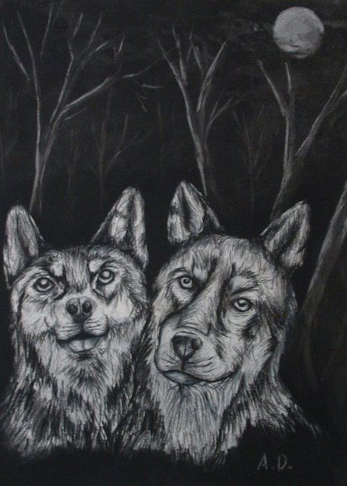 Landscape Greeting Card featuring the drawing Companions by Andrea Darlington
