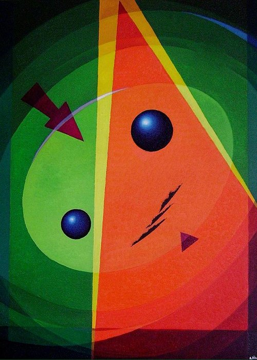 #abstract Greeting Card featuring the painting Compass by Alberto DAssumpcao