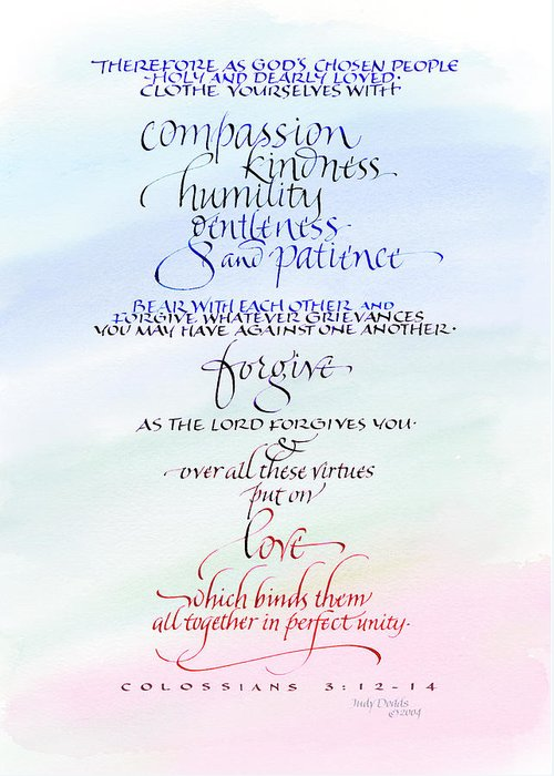 Anniversary Greeting Card featuring the painting Compassion And Love by Judy Dodds