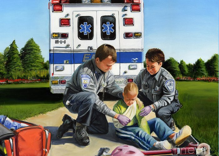 Ems Greeting Card featuring the painting Compassion by Paul Walsh