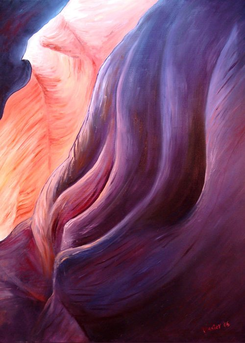 Abstract Greeting Card featuring the painting Composition In Purple And Orange by Scott Plaster