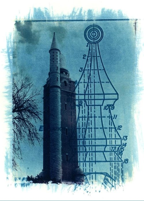 Alternative Process Photography Greeting Card featuring the photograph Compton Blueprint by Jane Linders