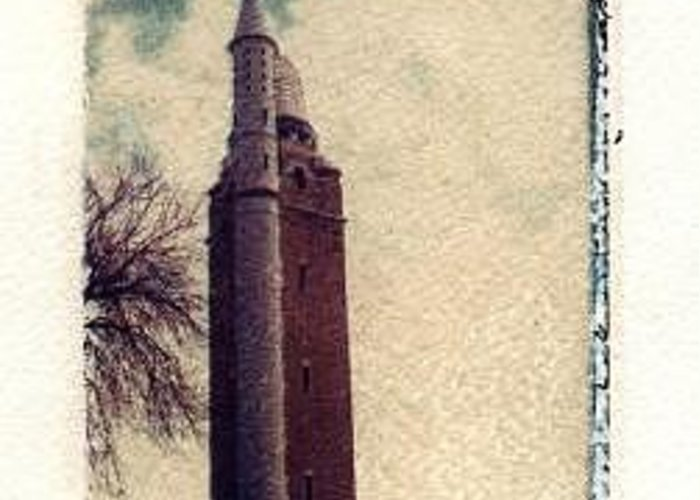 Polaroid Transfer Greeting Card featuring the photograph Compton Water Tower by Jane Linders