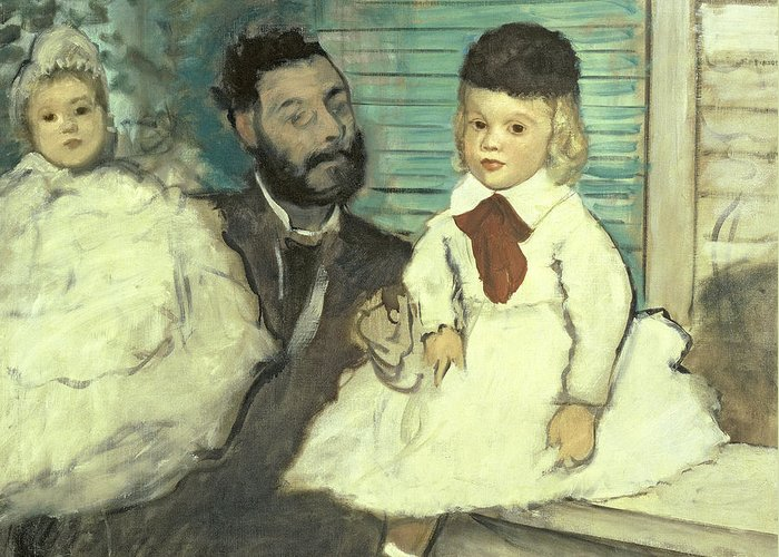 Comte Le Pic And His Sons By Edgar Degas (1834-1917) Greeting Card featuring the pastel Comte Le Pic And His Sons by Edgar Degas