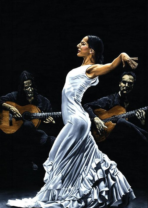 Flamenco Greeting Card featuring the painting Concentracion Del Funcionamiento Del Flamenco by Richard Young