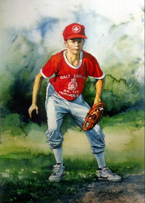 Sports Art Greeting Card featuring the painting Concentration by Hanne Lore Koehler