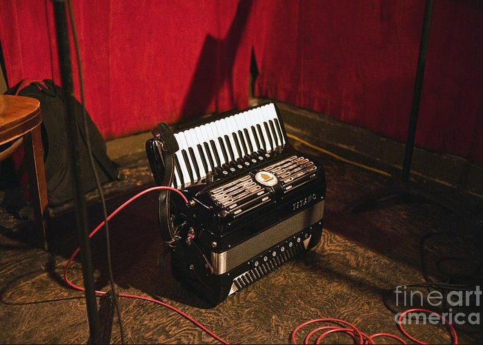 Accordion Greeting Card featuring the photograph Concertina On The Floor by Eddy Joaquim