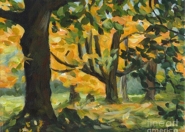Painting Greeting Card featuring the painting Concord Fall Trees by Claire Gagnon