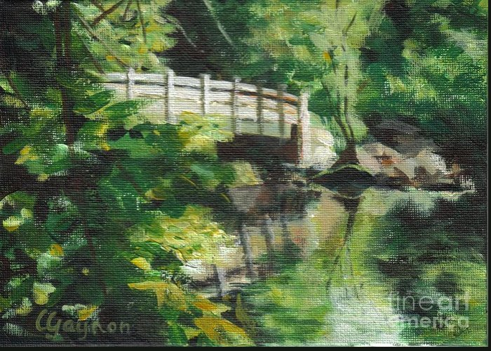 Concord Greeting Card featuring the painting Concord River Bridge by Claire Gagnon