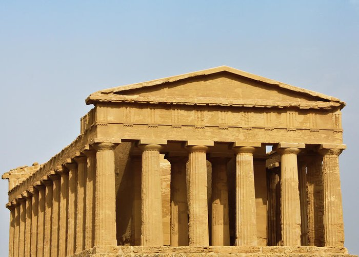 Sites Greeting Card featuring the photograph Concordia Temple In Agrigento, Sicily, Italy by Paolo Modena