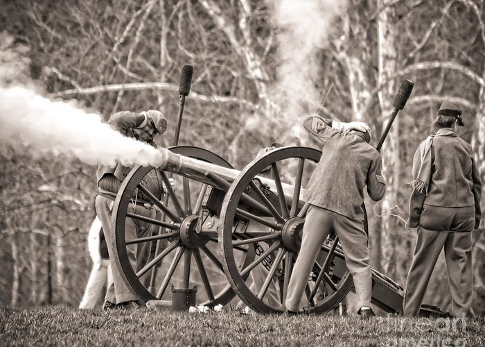 Brass Greeting Card featuring the photograph Confederate Arttillery Cannon Flame At Reenactment 1564s by Cynthia Staley