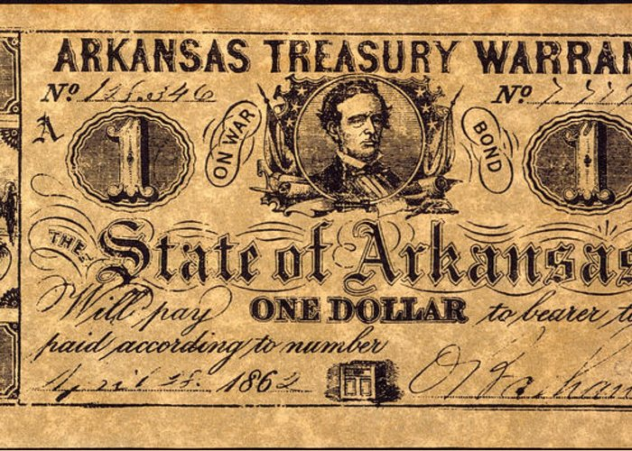1862 Greeting Card featuring the photograph Confederate Banknote by Granger