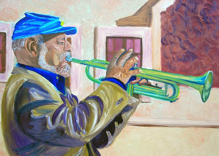 Street Musician Greeting Card featuring the painting Confederate Bugular by Michael Lee