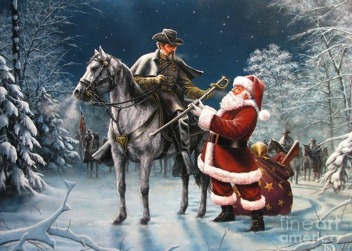 Civil War Greeting Card featuring the painting Confederate Christmas by Dan Nance