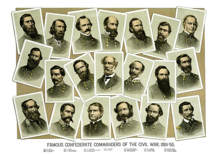 Civil War Greeting Card featuring the painting Confederate Commanders Of The Civil War by War Is Hell Store
