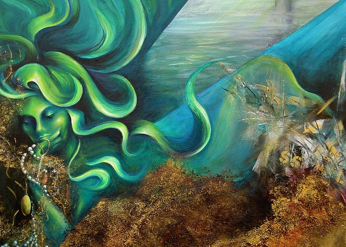 Ocean Greeting Card featuring the painting Confessions Of A Mermaid by Dina Dargo