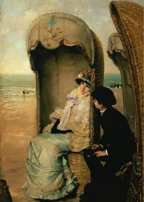 Confidences Greeting Card featuring the painting Confidences On The Beach by Vincente Gonzalez Palmaroli