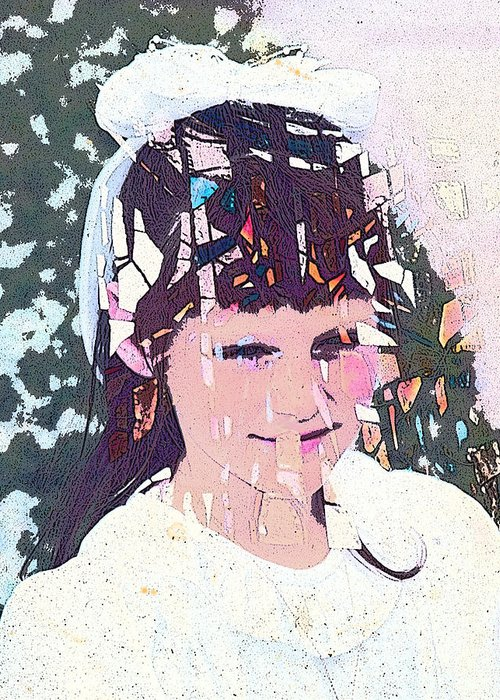 Girl Greeting Card featuring the digital art Confirmation by Arline Wagner