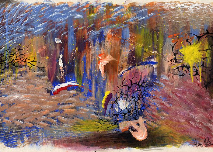 Abstract Greeting Card featuring the painting Confrontation by Nathaniel Hoffman