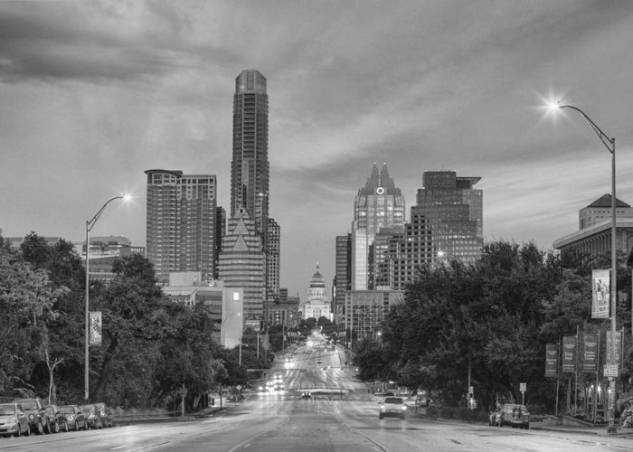 Texas State Capitol Greeting Card featuring the photograph Congress Andtexas Capitol Black And White 1 by Rob Greebon