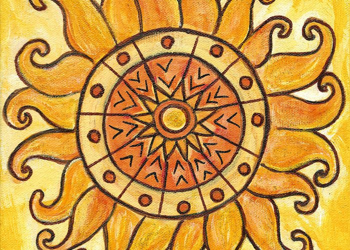 Yellow Greeting Card featuring the painting Connected In Energy by Kristen Fagan