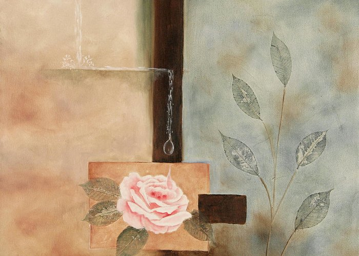 Rose Greeting Card featuring the painting Connections by Marti Idlet