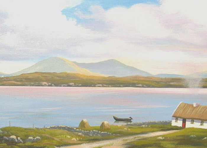Irish Cottage Painting Greeting Card featuring the painting Connemara Cottage 2011 by Cathal O malley