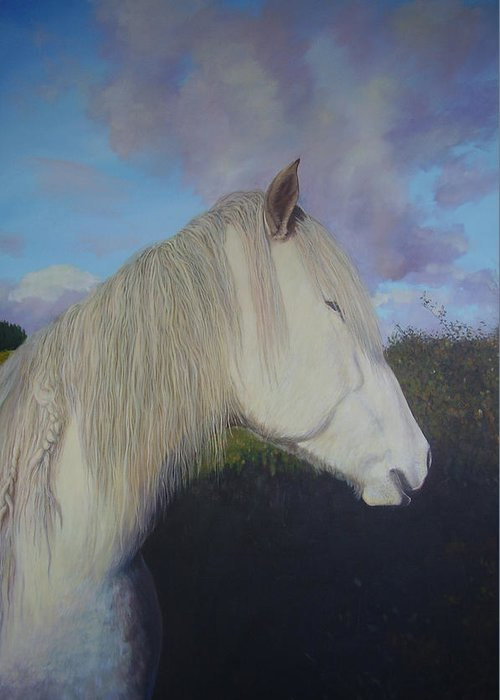 Pony Greeting Card featuring the painting Connemara Pony by Eamon Doyle