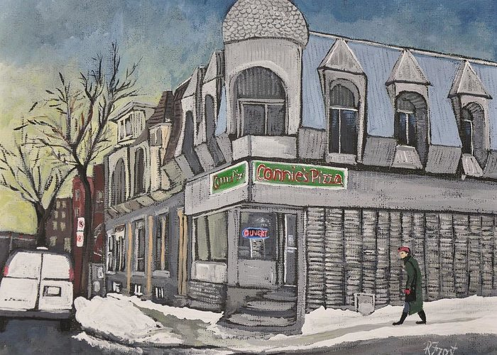 Montreal Pizza Places Greeting Cards