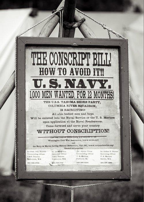 Civil War Greeting Card featuring the photograph Conscript Bill by Rainbeau Decker