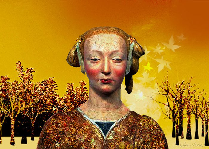 Portrait Greeting Card featuring the digital art Constance by Sabine Stetson