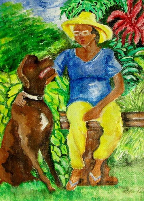 Garden Greeting Card featuring the painting Constant Gardener by Nkese Miller