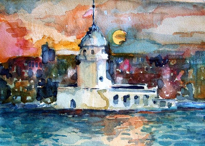 Constantinople Greeting Card featuring the painting Constantinople Turkey by Mindy Newman