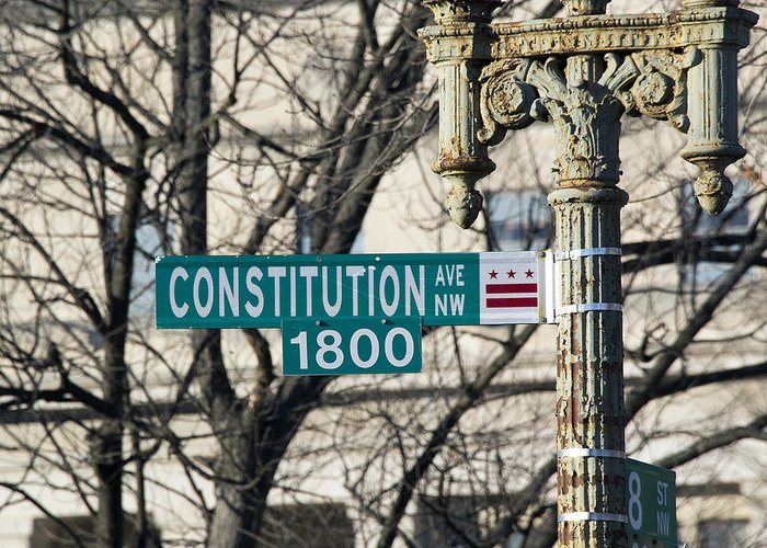 Constitution Greeting Card featuring the photograph Constitution Avenue Street Sign by Brendan Reals