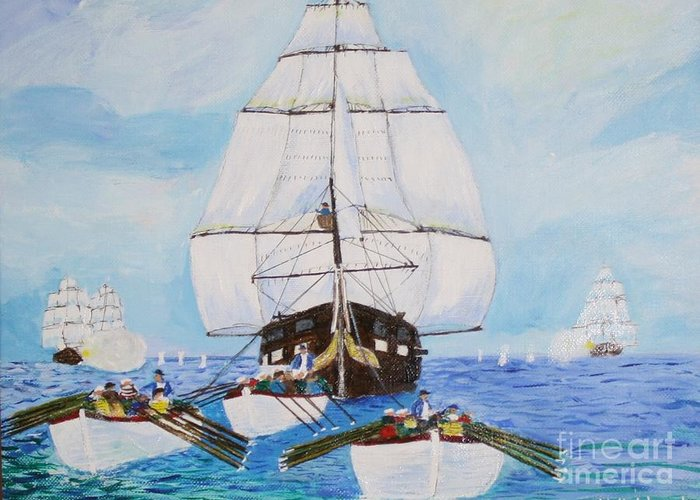 Frigate Greeting Card featuring the painting Constitution Eluding British Fleet March 1812 by Bill Hubbard