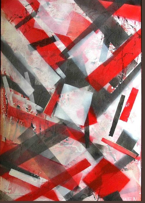 Abstract Greeting Card featuring the painting Construction In Red by Evguenia Men