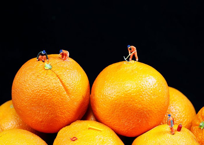 Surreal Greeting Card featuring the photograph Construction On Oranges by Paul Ge