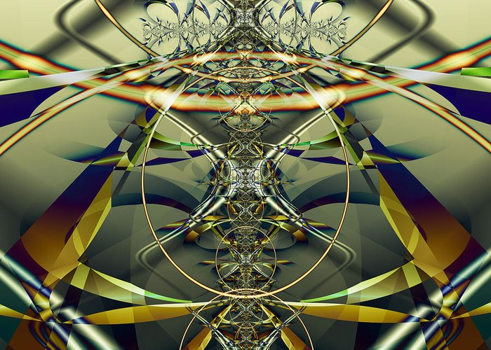 Fractal Greeting Card featuring the digital art Construction Rings by Frederic Durville