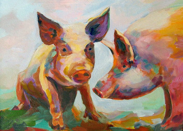 Pigs Greeting Card featuring the painting Consultation by Naomi Gerrard
