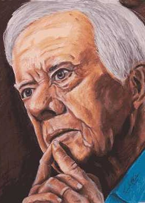 Portrait Greeting Card featuring the painting Contemplation - Jimmy Carter by Kenneth Kelsoe