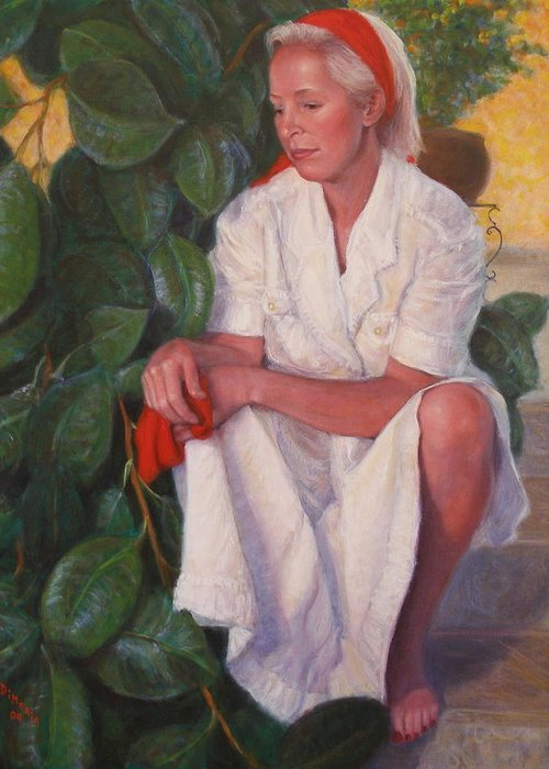 Realism Greeting Card featuring the painting Contemplation by Donelli DiMaria