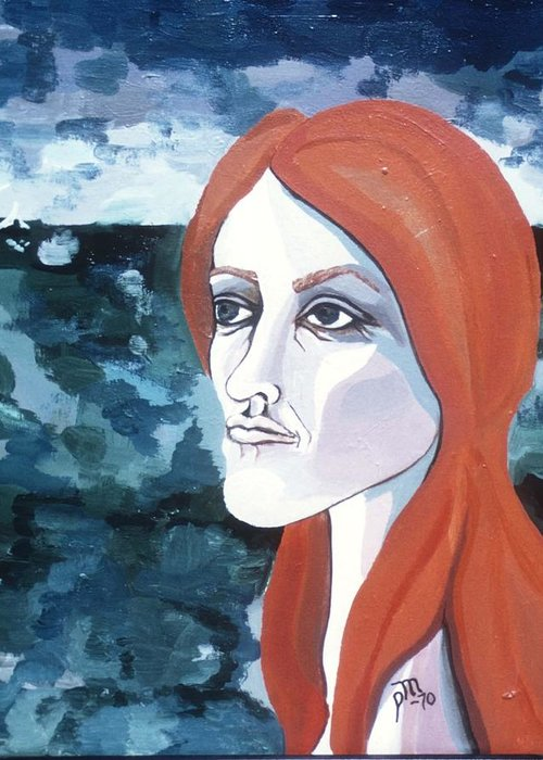Portrait Greeting Card featuring the painting Contemplation Of Serenity by Pamela Maloney