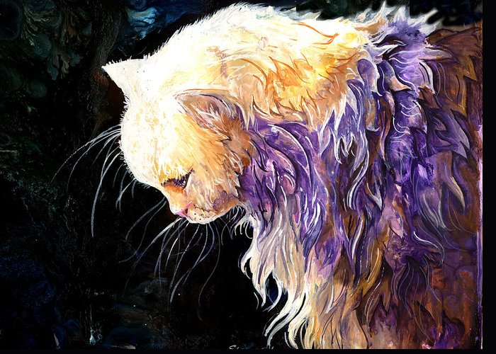 Cat Greeting Card featuring the painting Contemplation by Sherry Shipley