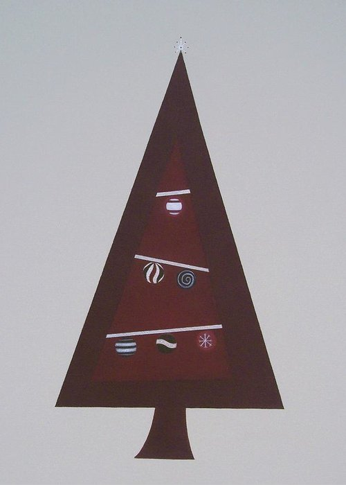 Abstract Christmas Greeting Card featuring the painting Contemporary Christmas Tree by Sandy Bostelman