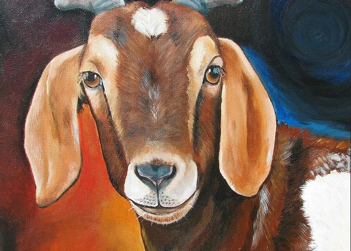 Goat Greeting Card featuring the painting Contemporary Goat by Laura Carey