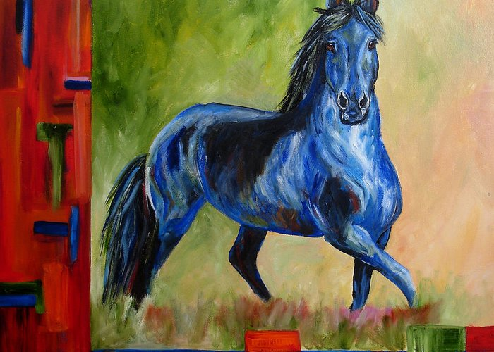 Horse Greeting Card featuring the painting Contemporary Horse Painting Fresian by Mary Jo Zorad