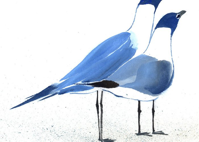 A Couple Of Sea Birds Standing Still.  This Is A Contemporary Chinese Ink And Color On Rice Paper Painting With Simple Zen Style Brush Strokes.  Greeting Card featuring the painting Content by Mui-Joo Wee